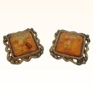 Vintage Orange Square Shaped Confetti Shell Filled Lucite Imitation Pearls Clip On Earrings  TLC