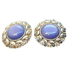 Large Scalloped Thermoset  Blue Moonglow Lucite Clip On Earrings
