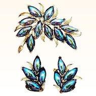 Vintage Kramer Peacock Blue Carnival Glass Stones Brooch and Clip On Earring Set