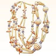 Vintage Carol Duaplaise Statement Necklace Opalescent Glass Beads & Sea Shells 1969