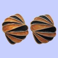 Vintage Trifari Goldtone Metal Black Orange Enameled Clip On Earrings