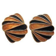 Vintage Trifari Goldtone Metal Black Orange Enameled Clip On Earrings