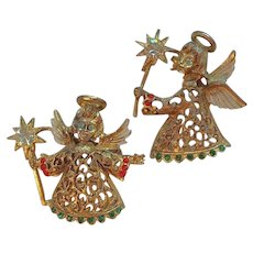 Vintage Pair of Red & Green Rhinestone Holiday Angel Scatter Pins