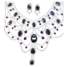 Vintage Rich Purple Rhinestones Drippy Bib Necklace Clip On Earrings Set