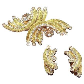 Vintage Goldtone Mesh Metal Clear Rhinestones Brooch & Clip on Earring Set
