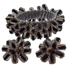 Vintage Black Crystal Beaded Cha Cha Expansion Bracelet  Clip On Earring Set