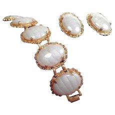 Vintage Judy Lee Givre Opalescent Art Glass Bracelet  Clip On Earring Set