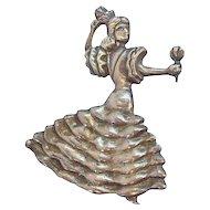 Vintage Sterling Silver Flamenco Dancer Brooch