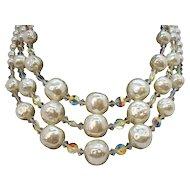 Vintage Triple Strand Imitation Pearls Aurora Crystal Beaded Necklace