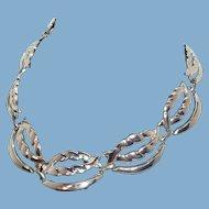 Vintage Textured Sliced Swirls Silvertone Metal Necklace
