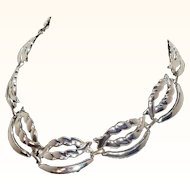 Vintage Textured Sliced Swirls Silvertone Metal Necklace