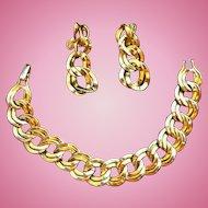 Vintage Monet Goldtone Metal Bracelet Dangle Clip on Earring Set