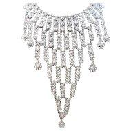 Vintage Intricate Silvertone Metal Dangle Bib Floral Designs Necklace