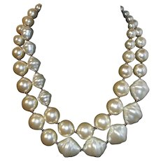 Vintage Large Double Strand Oval Baroque Imitation Pearl Beaded Necklace