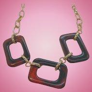 Vintage Rootbeer Brown Lucite Rectangular Link Necklace