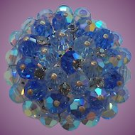 Vintage Round Faceted Blue Aurora Crystal Beaded Brooch