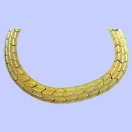 Vintage Textured Zig Zag Flexible Goldtone Metal Choker Necklace