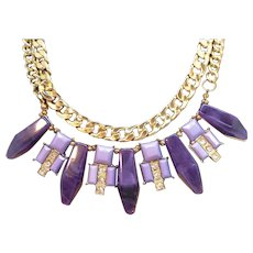 Vintage Chunky Purple Thermoset  Double Strand Goldtone Metal Necklace