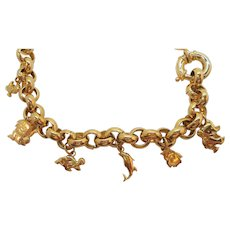 Vintage Chunky Goldtone Metal Link Necklace Fun Dangle Charms