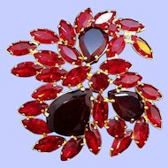 Vintage Large Red Rhinestone  Open Back Faceted Glass Stones Brooch