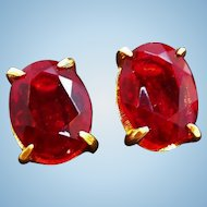 Vintage Large Red Faceted Glass Open Back Clip On Earrings