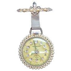 Vintage Dangle Pocket Watch Brooch Imitation Pearls & Rhinestones