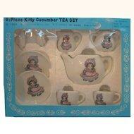 Vintage Kitty Cucumber 9 Piece Tea Set Mint in Box 1984