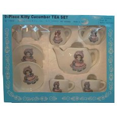 Vintage Kitty Cucumber 9 Piece Tea Set Mint in Box 1984