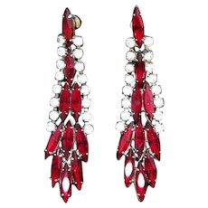 Vintage Red Marquise Rhinestone Long Dangle Pierced Earrings