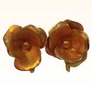 Vintage Coro Dimensional Goldtone Flower Clip On Earrings
