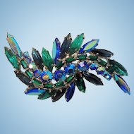 Vintage Dimensional Abstract Blue Green Aurora Rhinestone Brooch