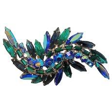 Vintage Dimensional Abstract Blue Green Aurora Rhinestone Brooch