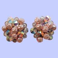Vintage Aurora Borealis Beaded Crystal Imitation Pearl Earrings