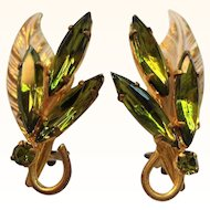 Vintage Olive Green Marquise Rhinestone Goldtone Clip on Earrings