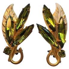 Vintage Olive Green Marquise Rhinestone Goldtone Clip on Earrings
