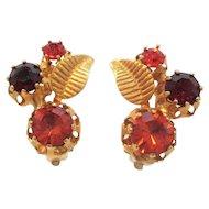 Vintage Dainty Orange Red Rhinestone Clip On Earrings