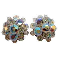 Vintage Dimensional Crystal Aurora Beaded Clip On Earrings