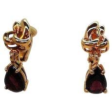 Vintage Dainty Goldtone Garnet Colored Crystal Dangle Clip on Earrings