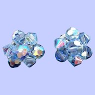 Vintage Ice Blue Faceted Crystal Beaded Clip On Earrings