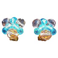 Vintage Pastel Pink & Blue Faceted Crystal Beaded Clip On Earrings