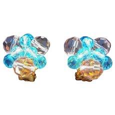 Vintage Pastel Pink & Blue Faceted Crystal Beaded Clip On Earrings