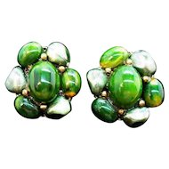 Vintage Green Lucite Imitation Pearl Beaded Clip On Earrings