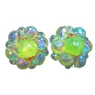 Vintage Green Lucite Beaded Clip On Earrings West Germany