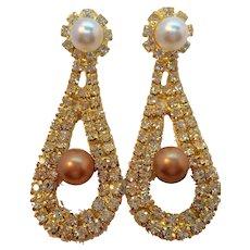 Vintage Rhinestones Imitation Pearls Dangle Pierced Earrings