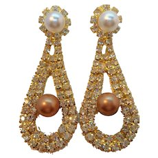 Vintage Rhinestones Imitation Pearls Dangle Pierced Earrings