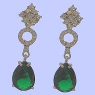 Long Chic Dangle Green Glass Rhinestones Pierced Earrings