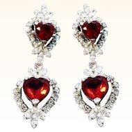 Vintage Long Glitzy Red Heart Shaped Dangle Clip On Earrings