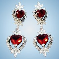 Vintage Long Glitzy Red Heart Shaped Dangle Clip On Earrings
