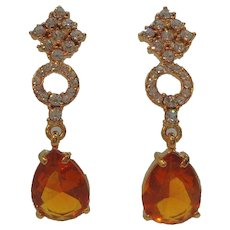 Long Chic Dangle Clear Orange Rhinestones Pierced Earrings