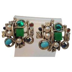 Vintage ART Abstract Design Silvertone Clip On Earrings